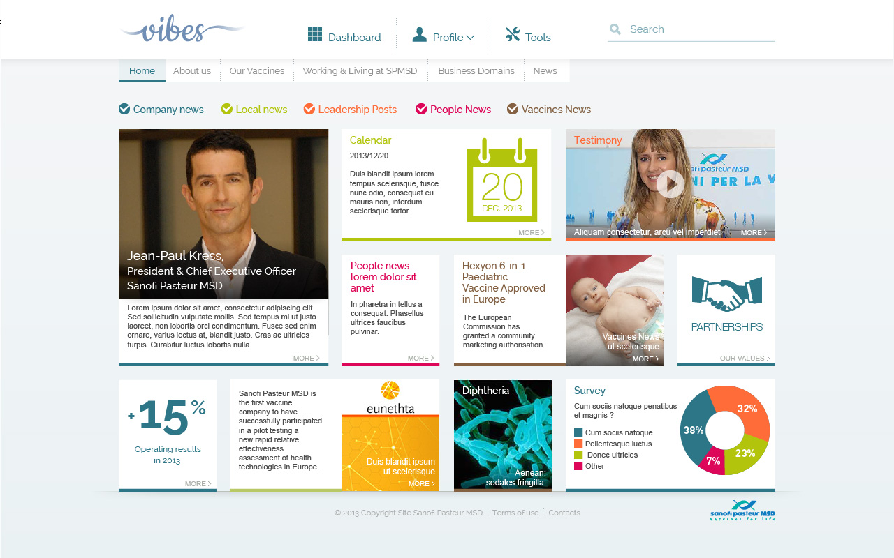 Page accueil intranet SPMSD