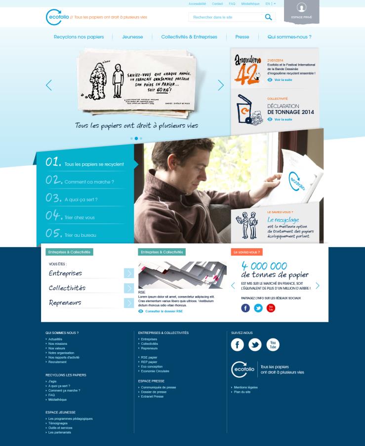 Page d'accueil site Ecofolio